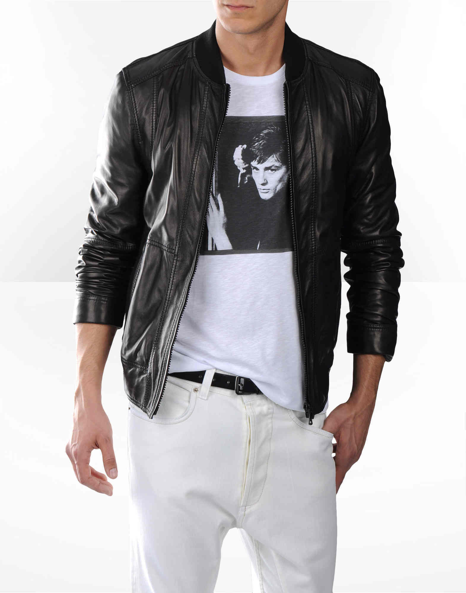 DG Mens Black Leather Jacket Mens Fashion