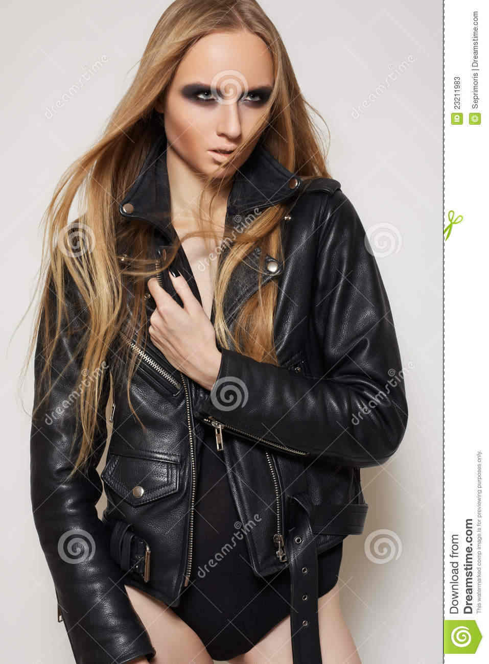 Fashion Rock Woman In Black Leather Jacket Body Stock Photos