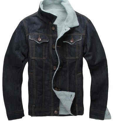 Denim Jacket Male Thickened Fur Collar Denim Jacket Mens Jeans
