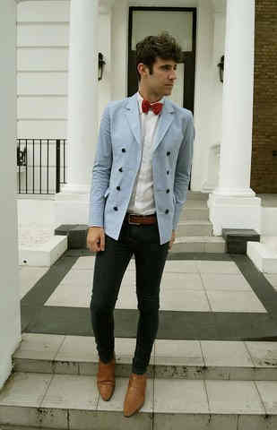 Group Of  Topman Light Blue Blazer Vintage Shop Red Bowtie Zara