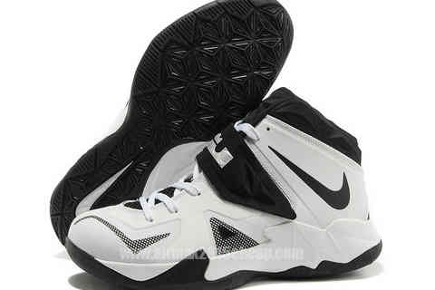 Cheap All Nike Lebron Soldier 7 White Black Basketball Shoes For