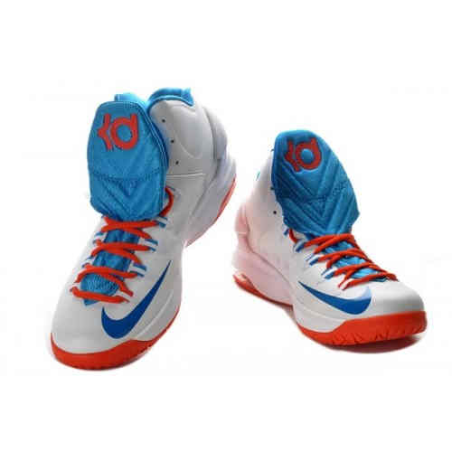 Nike Zoom Kevin Durants KD V Basketball Shoes WhiteBlueRed On