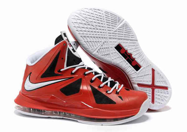 Nike Lebron X  10  Black Red White Basketball Shoes   Cheap Online