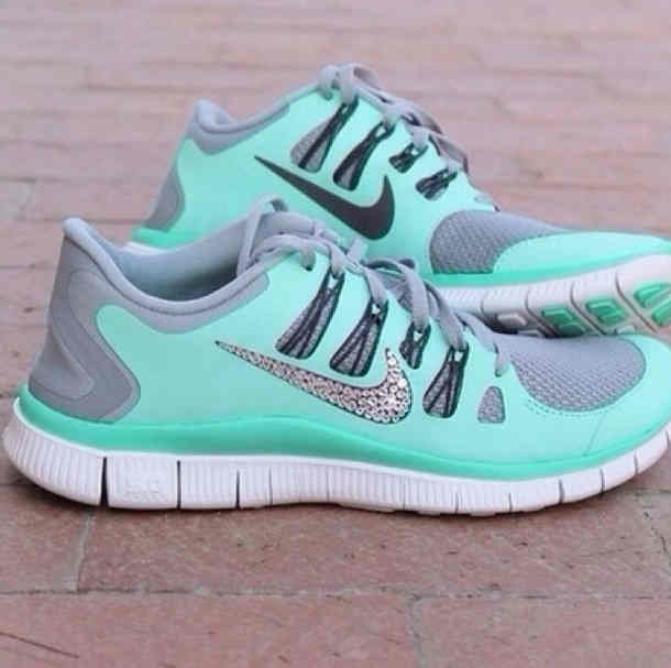 Shoes  Nike Glitter Sparkles Aqua Sea Green Aquamarine