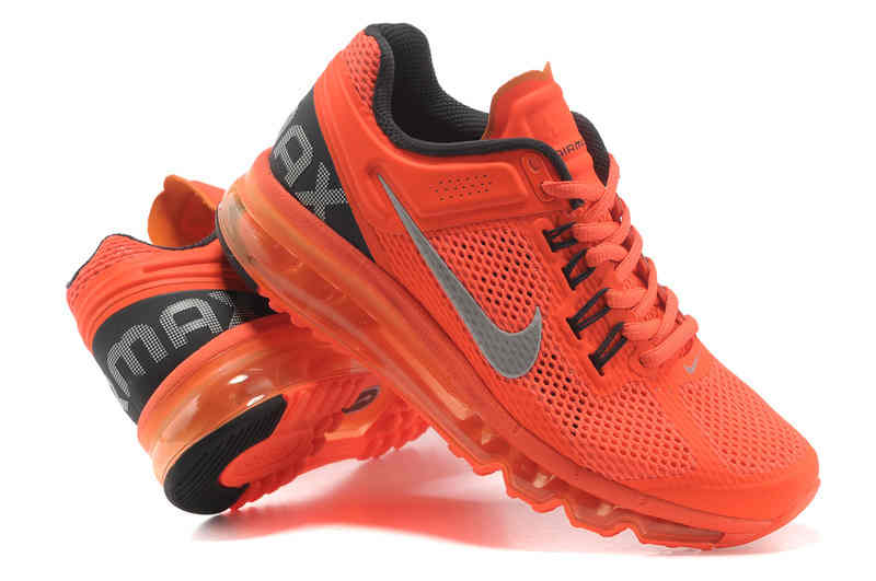 New Products Nike Air Max 2013 Women Orange Gray Running Shoes