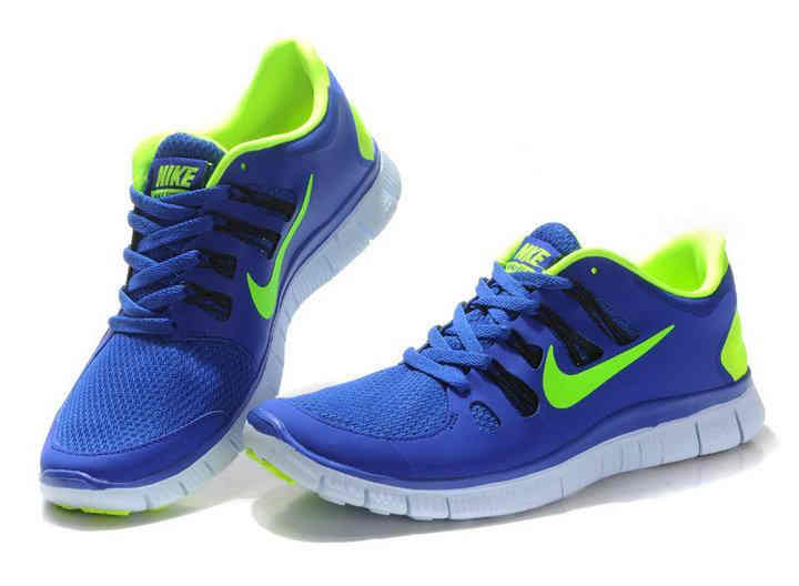 Buy Authentic Nike Free Run 5  Mens Running Shoes Royal Blue Neon