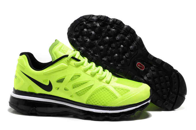 Mens Air Max 2012 Fluorescent Green Black Running Shoes    7270