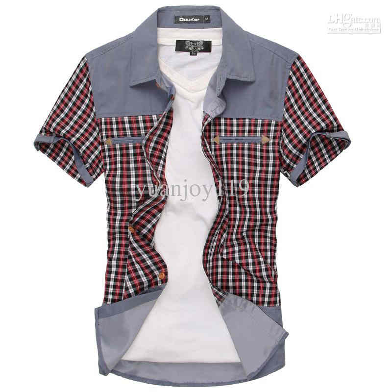 Wholesale Cotton Shirts   Buy 2013 Fashion Mens Check Short