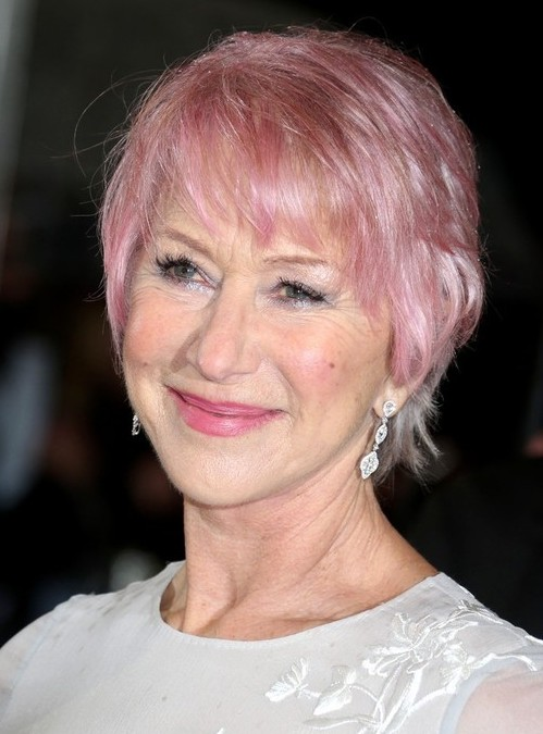 helen mirren pink short hair