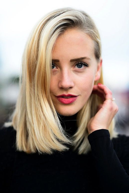 long blonde bob hairstyle for fine hair lob