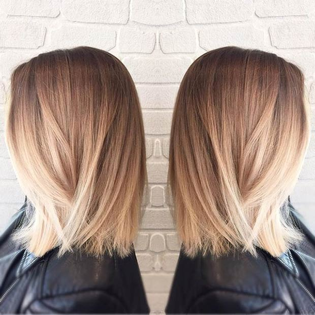 long bob cut straight bob blonde balayage