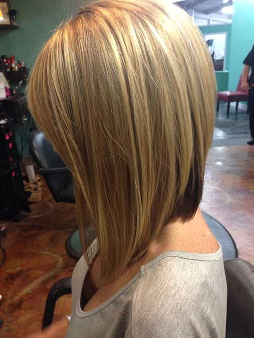 side view of inverted bob hairstyle
