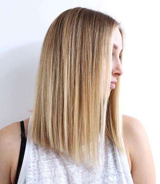 straight a a line bob hairstyle lob
