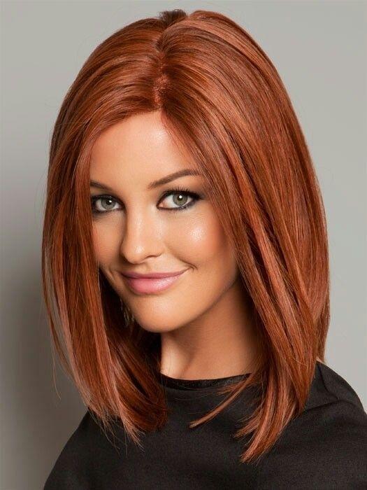 straight long bob redhead